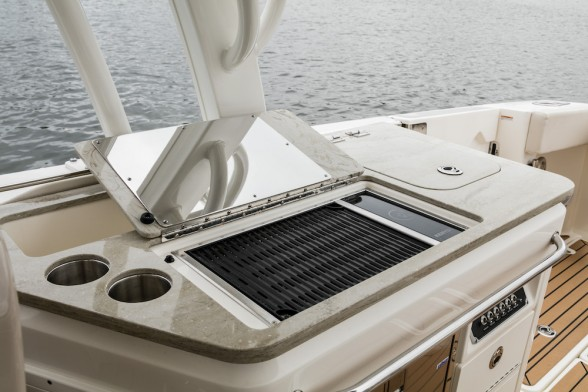 A growing trend among larger boat models is the addition of a built-in electronic grill. Photo Courtesy: Boston Whaler.